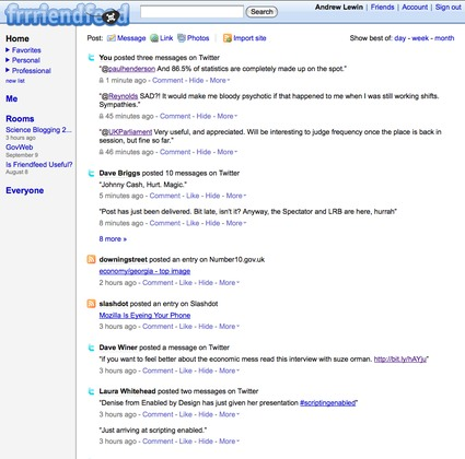 Screen grab of the new FriendFeed page