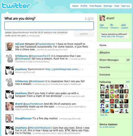Screen grab of the new Twitter front page