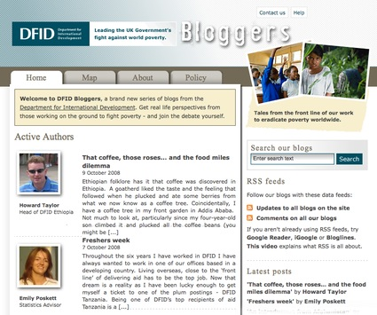 Front page of DFID Bloggers