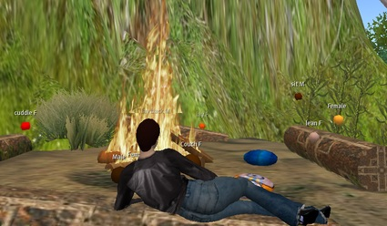 Lounging in front of the virtual fire
