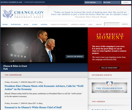Homepage of the Office of the President-Elect website