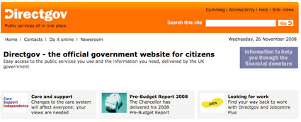 Front page of Directgov site