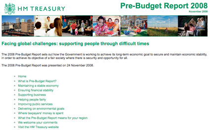 Front page of HM Treasury microsite