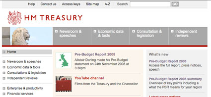 Front page of HM Treasury site